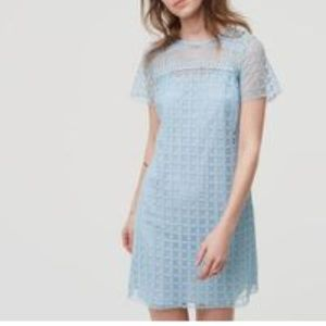NWT LOFT Blue Lace Shift Dress Size 2